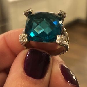 David Yurman Cushion On Point Blue Topaz Ring
